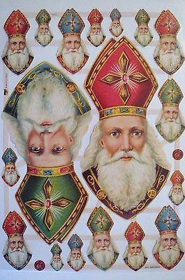 Glanzbilder Oblaten ef 7410 Bischof Nikolaus Köpfe Weihnachten Winter selten