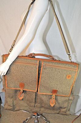 VTG HARTMANN Brown Tweed & LEATHER SUIT/GARMENT CARRIER BAG