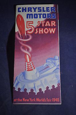 1940 Chrysler Motors 5 Star Show New York Worlds Fair