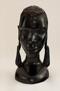 African Maasai Warrior Head  Wooden  Carved Masai Bust Carving Ebony