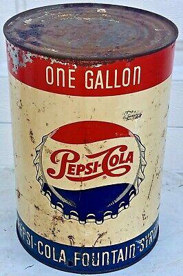 Vintage 1950s Pepsi Cola One Gallon Fountain Syrup Can Soda Bottle Cap Logo