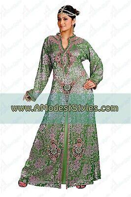 Green ABAYA KAFTAN FARASHA Dubai Morocco Party Wedding Dress *USA SELLER* 0513