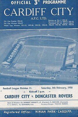 Feb 58 Cardiff City v Doncaster Rovers