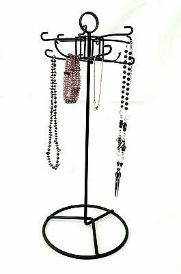 Unique Metal Revolvingrotating Display - 12 Hook Black Metal Jewelry Stand