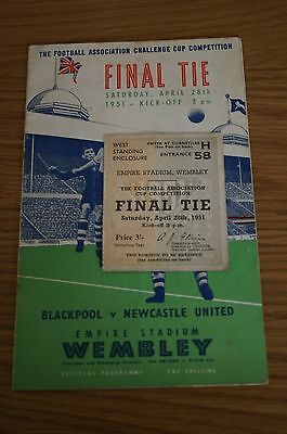 Blackpool v Newcastle Utd 1951 FA Cup Final Programme + Ticket Stub