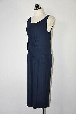 Fabletics Navy Blue Stretch Jersey Sleeveless Draped Long Midi Dress Women M