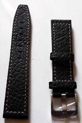 Neu hochwertiges Elysee Uhrenband Uhrenarmband Leder Black Orange Naht 22mm E50