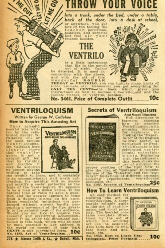 1941 small Print Ad of The Ventrilo Double Throat Ventriloquism throw your voice