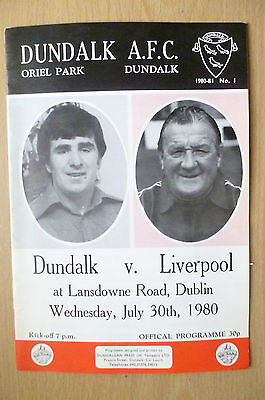 1980- DUNDALK v LIVERPOOL (Friendly) 30th July
