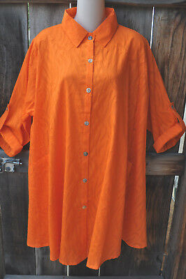Dilemma Art To Wear Hand Woven 100  Textured Cotton Artist Shirt In Orange Os