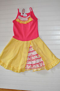 Loves Me Not Sunshine Pink Yellow Bustle Ruffles Dress Size 6 New Pretty!!
