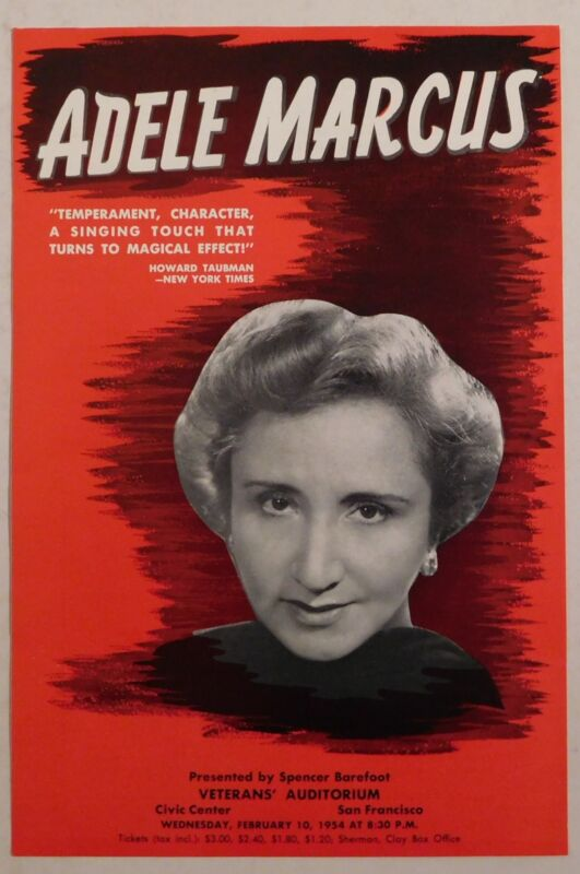ADELLE MARCUS rare classical handbill SF VETERANS AUDITORIUM 1954 opera vocal