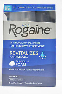 Rogaine foam 3 mth Minoxidil 5% hair regrowth treatment 4 men hair loss/Regaine