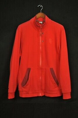 Puma Ferrari Red Full Zip Mock Neck Sweatshirt Jacket Large Damaged Zipper