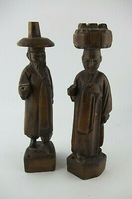 Vintage Latin American Peruvian Wood Couple Statue, Man and Woman, Peru 8