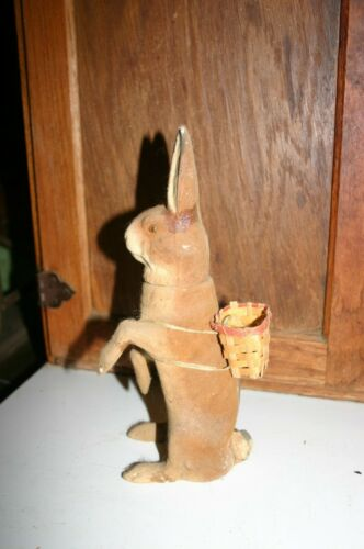 "Large 9.5"" ANTIQUE Flocked German Rabbit Candy Container, Germany with basket"