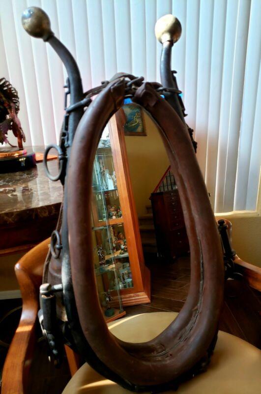 Vintage Horse Collar Mirror Harness Antique Western Americana