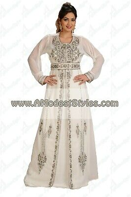 White DUBAI ABAYA KAFTAN Hijab Muslim Islam Wedding Dress *USA SELLER* MD0556