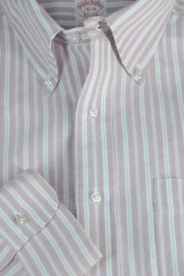 Brooks Bothers 1818 Men's Muted Red & White Stripe Cotton Dress Shirt 16 x 34