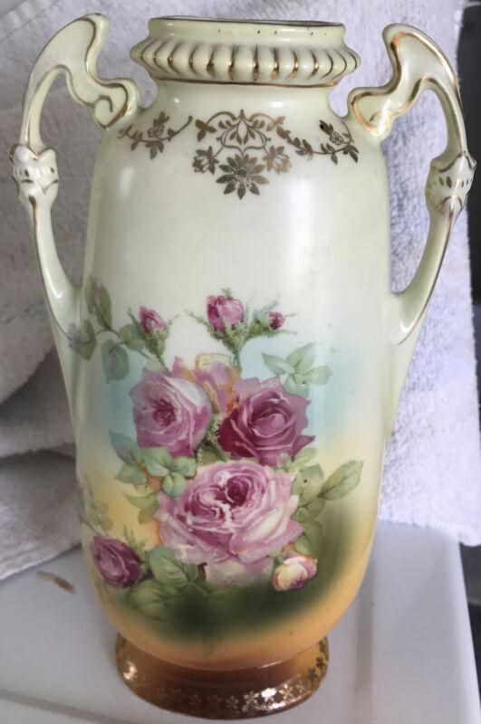 "Vintage Victoria Austria Pink Roses Double Handled Porcelain Vase 9 1/2"" H"