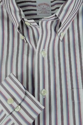 Brooks Brothers 346 Men's Ox Blood & White Striped Casual Cotton Shirt L Large