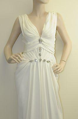 New J Mendel V Neck Silk Jewel Pearl White Ivory Gown DRESS 4 6 8 Wedding