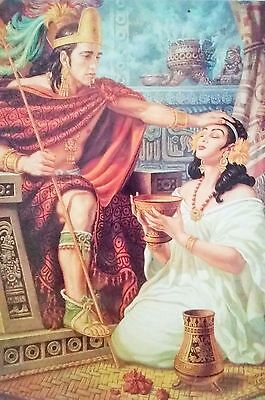Traditional Mexican Calendar Art Jesus Helguera Aztec king with Xochitl warrior