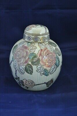Toyo Chinese Porcelain Hand Painted Rose Of The Isles Ginger Jar Rose Ginger Jar