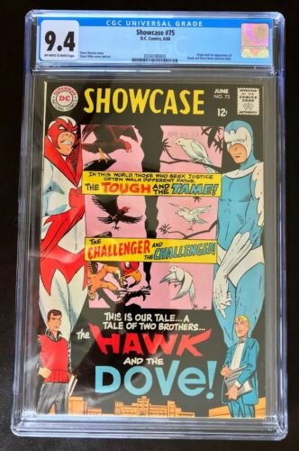 Showcase 75 CCG 9.4 OW/W Pages 1st Hawk And Dove Titans DC New Case