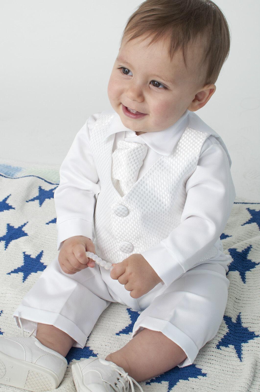 a2a230b44 Bebé Chicos De 4 Piezas Bautizo Outfit   Bautizo Traje cuadros en blanco