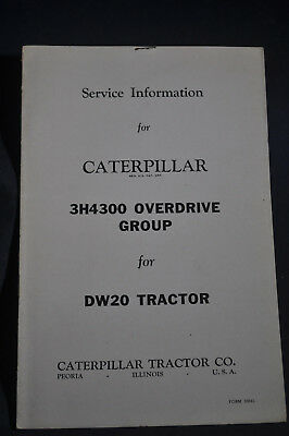 Service Information   Caterpillar 3H4300 Overdrive Group For Dw Tractor