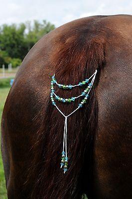 WOW!!  Horse Tail Beads Bling, Arabian, AQHA, Friesian, etc.  Turquoise & Green