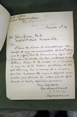 1889 Hon. John Quinn 2 Hand Written Letters War Dept. J.C. Kelton Adjutant Gen.