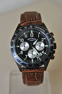 Rotary Gents Brown Leather Strap Black Dial Chronograph Watch GS03908/04 AA-448