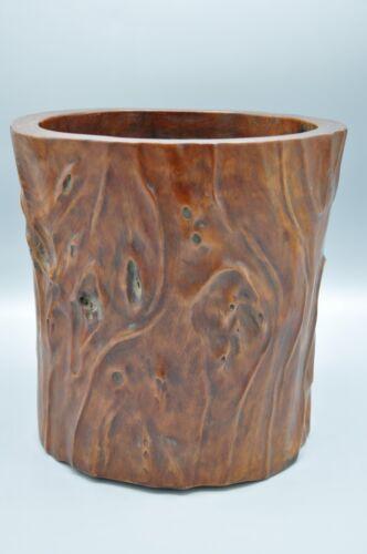 Large Antique Chinese Huali Wood Carving Brush Pot