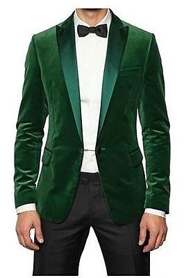 Hombre Boda Novios Smoking Cena Informal Terciopelo Verde Abrigo Chaqueta Blazer