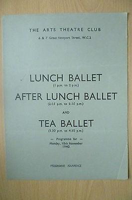 THE ARTS THEATRE CLUB LUNCH BALLET & TEA BALLET PROGRAMME, 18TH NOVEMBER 1940