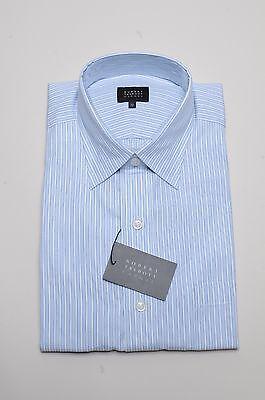 Robert Talbott Dress Shirt - Blue Framed Stripe - Med. Spread Collar/Barrel - Barrel Cuff Striped Dress Shirt