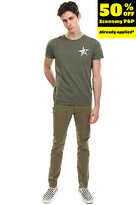 MACCHIA J T-Shirt Top Size M Star Patch Short Sleeve Crew Neck Made in Italy