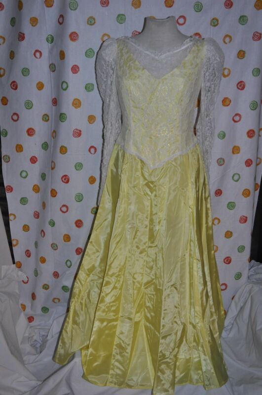 long yellow PRINCESS REENACTMENT DRESS  HALLOWEEN COSTUME WOMENS small
