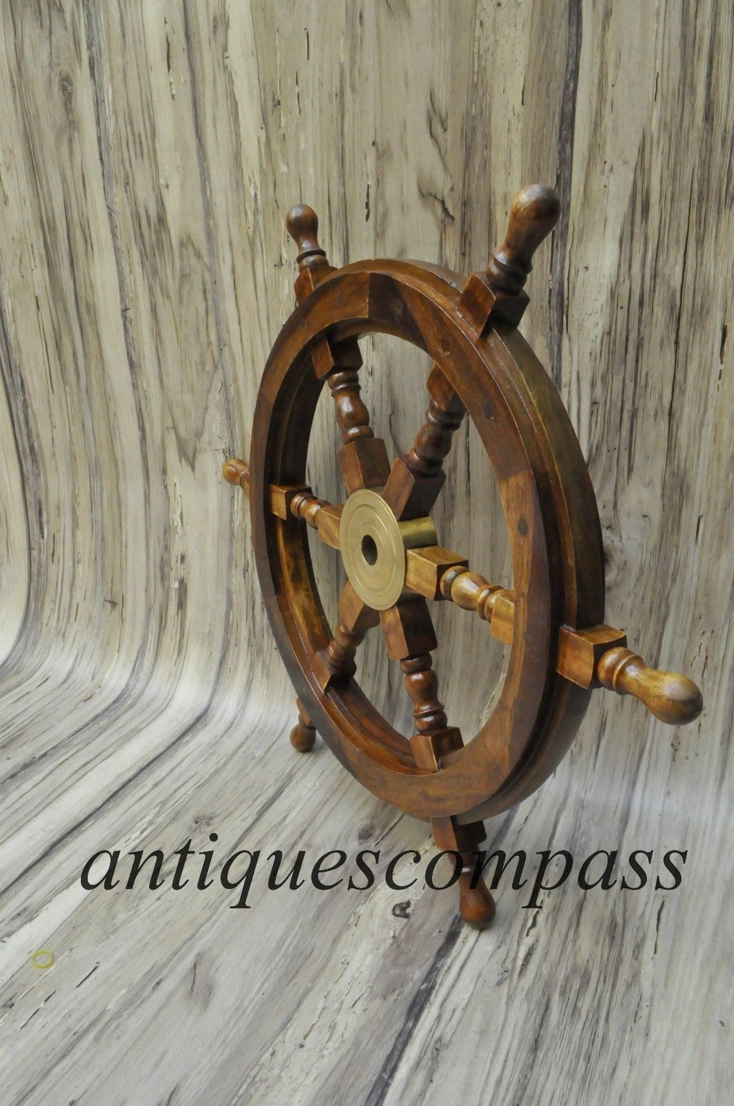 Nautical Wooden Ship Steering Wheel Pirate Decor Wood Brass Fishing Wall Boat