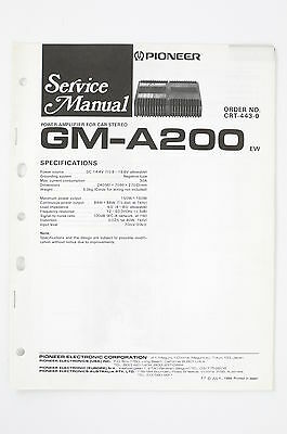 PIONEER GM-A200 EW Car Amplificatore Manuale di Servizio/Schema elettrico/ - Gm Schemi