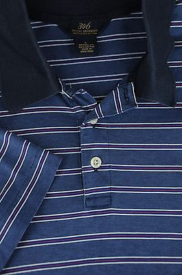Brooks Brothers 346 Men's Blue Red & White Striped Polo Cotton Shirt L Large