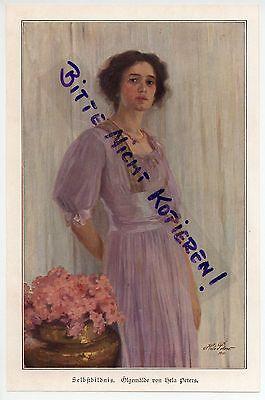 Werbung 1913, Selbst-Bildnis-Portrait-Gemälde Ölgemälde von Helga Peters