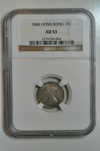 mw13571 Hong Kong; Silver 10 Cents 1868 Victoria NGC AU53  Rare in High Grade !!