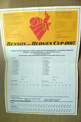 1997 CRICKET CUP MATCH SCORECARD- SURREY v LEICESTERHSIRE@ Foster's Oval,10 June