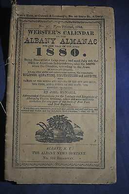 1880 Websters Calendar or the Albany Almanac