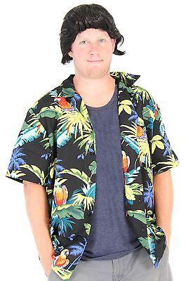 Adult Movie Pet Detective Hawaiian Aloha Button Up Tee Shirt & Wig Costume Set