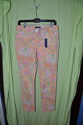 Denim Jeans Pants Size 4 Inseam 30 Chaps Ralph Lauren Nwt New White Pink Paisley