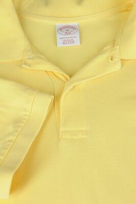Brooks Brothers 346 Men's Yellow Mesh Cotton Casual Polo Shirt M Medium